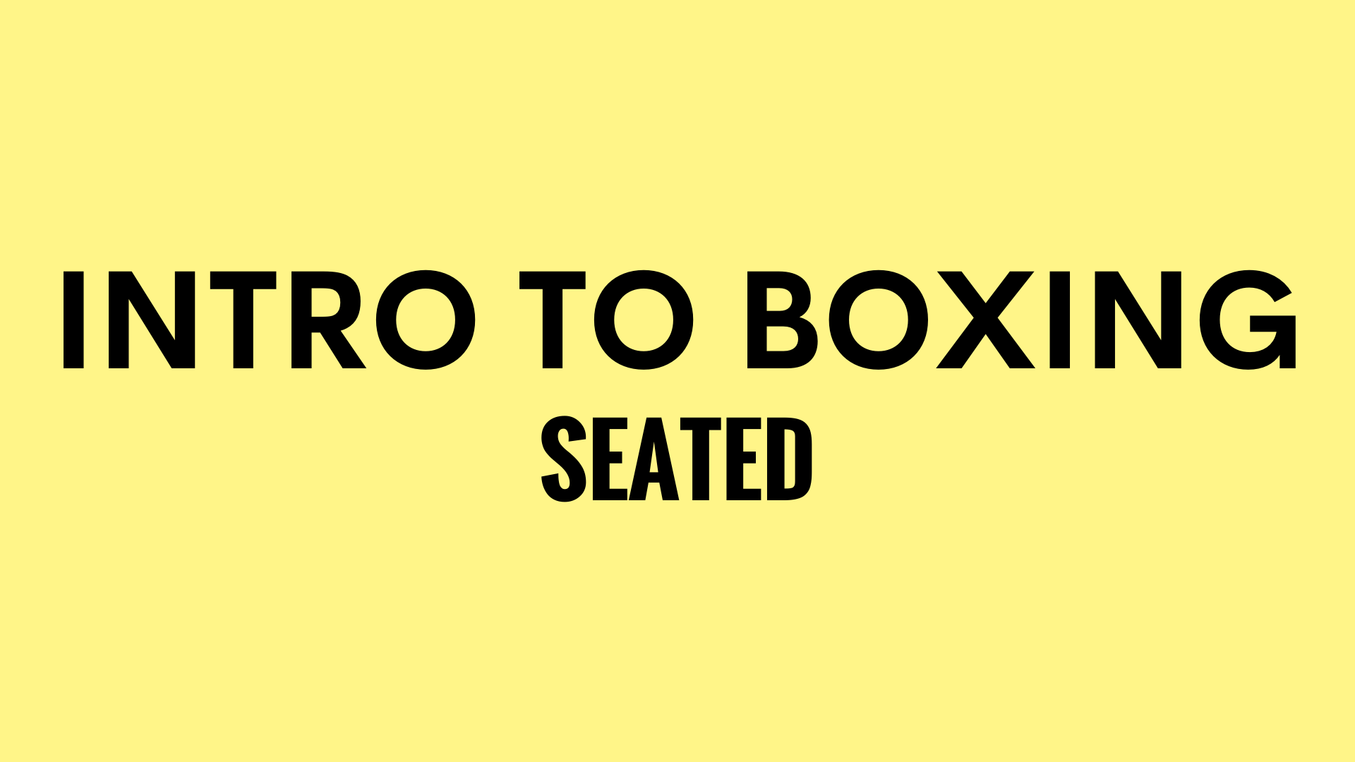 INTRO TO BOXING SEATED